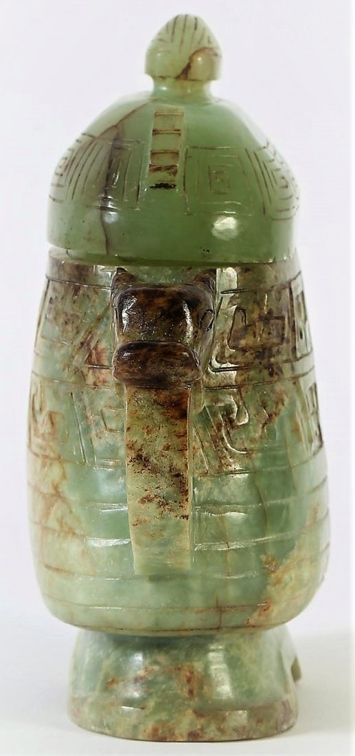 OLD CHINESE JADE VESSEL OF ARCHAIC FORM - 6