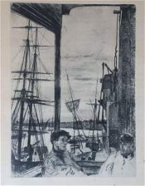 JAMES A. MCNEIL WHISTLER FINE 1860 ETCHING; ROTHERHITHE