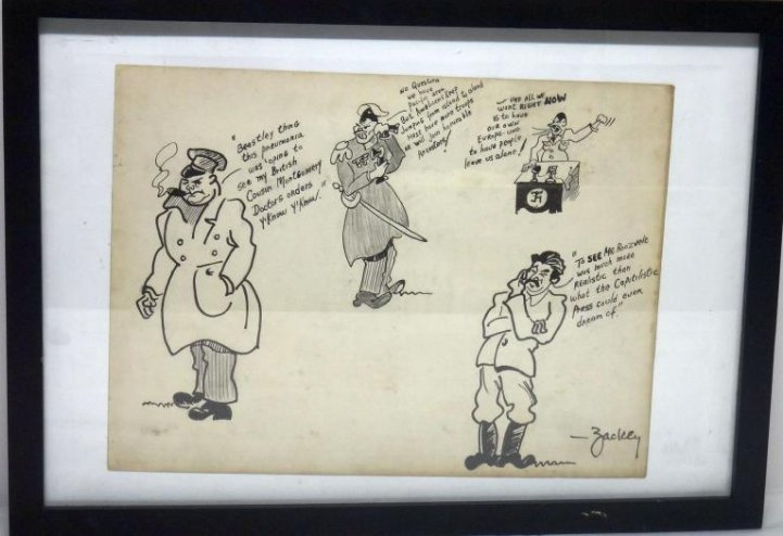 WWII POLITICAL SATIRE INK DRAWING