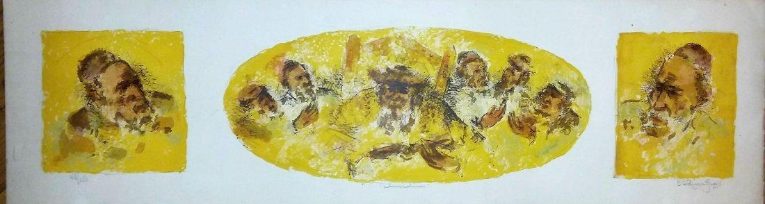 CHAIM GROSS, 1974 TRI-PART LITHO, TALMIDIM - 2
