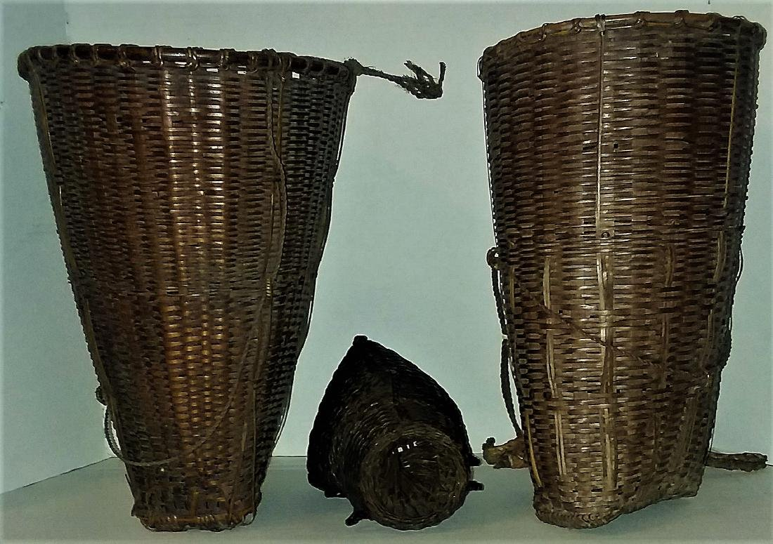 THREE EXCEPTIONAL ASIAN PACIFIC SPLINT BASKETS. - 3