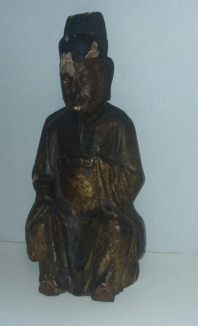 EARLY MING DYNASTY LACQUERED GILT FIGURE - 3
