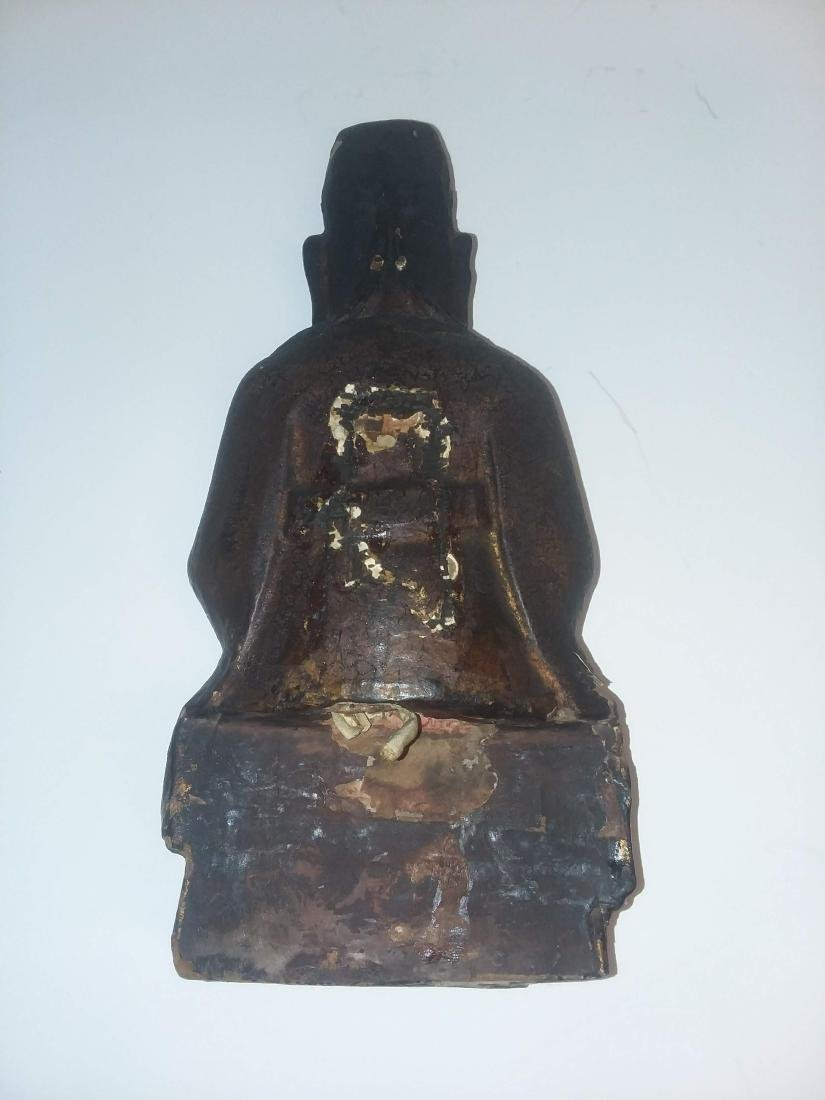 EARLY MING DYNASTY LACQUERED GILT FIGURE - 5
