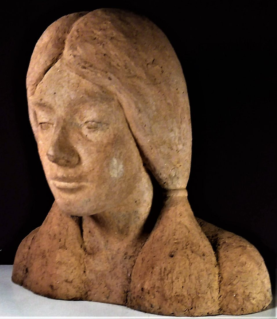 Fine Old Sculpture, Native American Girl - 2