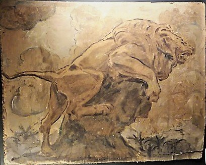 Antoine Louis Barye, Large Damaged Watercolor