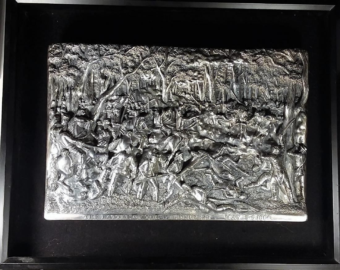 Silver Decorative Plaque, Civil War Scene, Artist