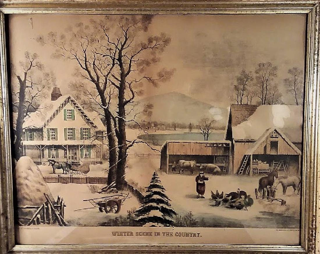 Rare Lg. Lithograph, Winter in the Country