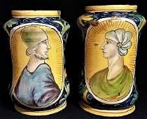 Pair of Italian Renaissance Majolica Albarello