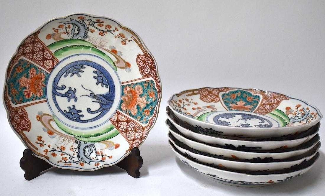 A Fine Set of 6 Early Edo Imari Deep Plates