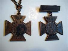 Pair of bronze confederate crosses