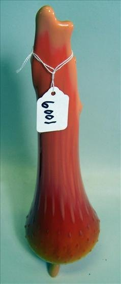 "6001: Vase Orange 13"" Footed Smith Glass"