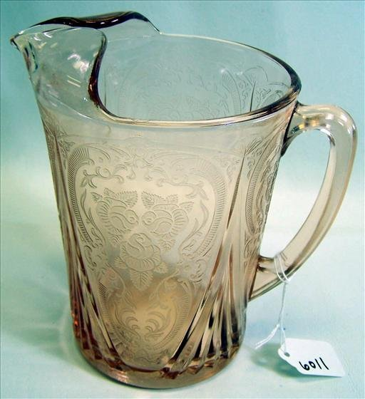 6011: Pitcher Pink Depression Glass