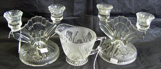 6012: 3 pc. Double Candle Holders & Creamer