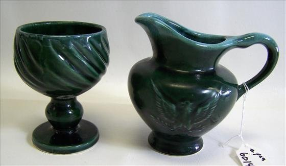 6014: 2 pc. Hull Pitcher & Footed Vase