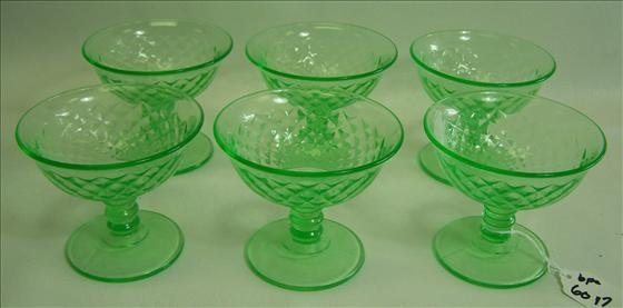 6017: 6 pc. Green Depression Glass Sherbets