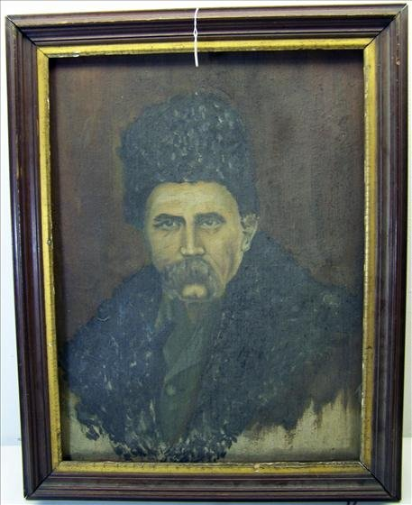 6117: Oil on Canvas Portrait of Ukrainian Poet Taras