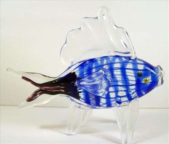 4019: Murano Blue & Purple Swimming Fish