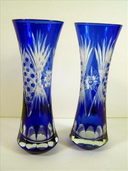 4021: 2 Cut to Clear Blue Murano Vases