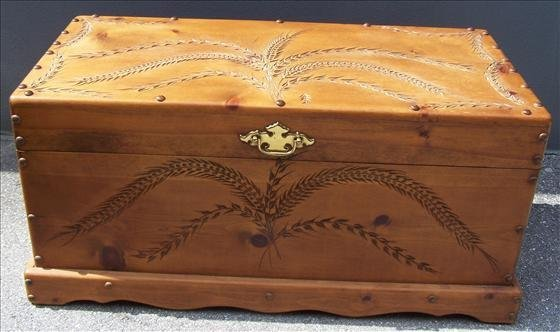2002: Wood carved Cedar chest