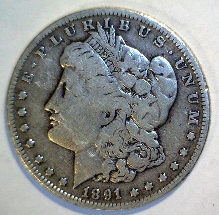 5013: 1891O Morgan Silver Dollar