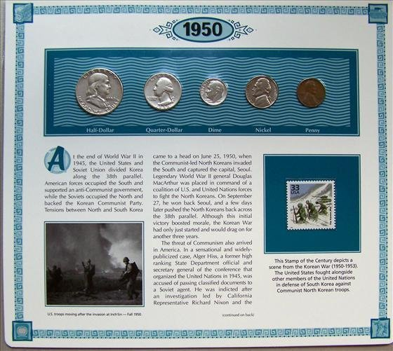 5022: 1950 U. S. Coins With 33 Cent Stamp