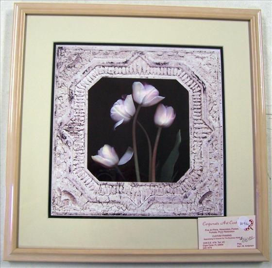 1092: Tulips Open Edition Custom Framed