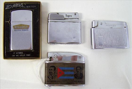 3004: 4 Lighters - Zippo - Rogers - Bentley - Hobie