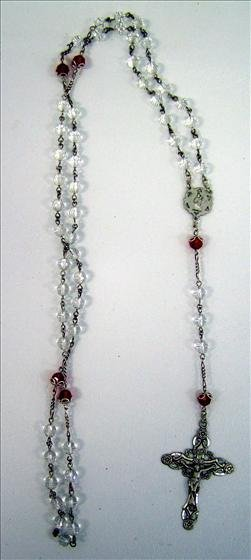 3009: Rosary - Crystal and red