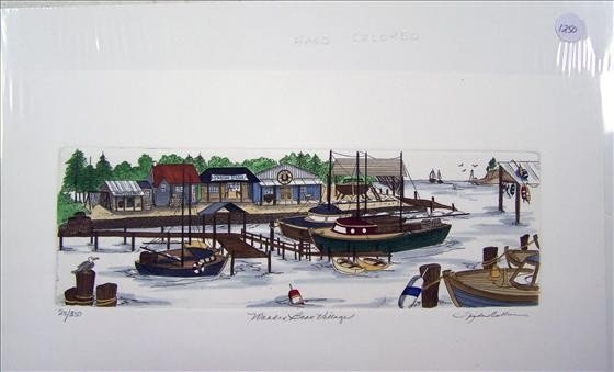 1250: Wooden Boat Village Hand Colored