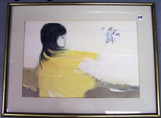 """1318: Framed Painting """"Wind Play"""""""
