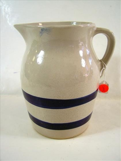 5002: Stoneware pitcher cobalt blue stripe