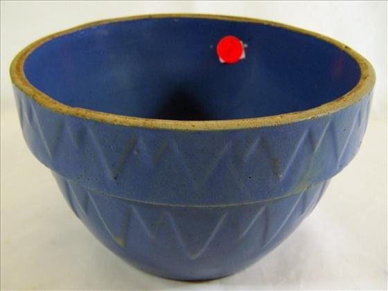 """5003: Stoneware bowl - blue 5"""" nice shape"""