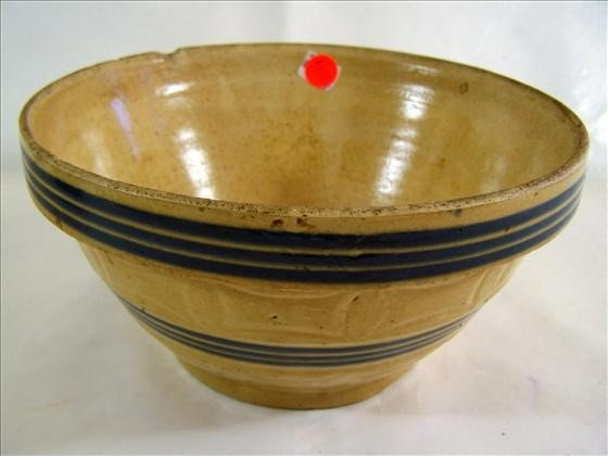 5004: Stoneware bowl - blue stripes