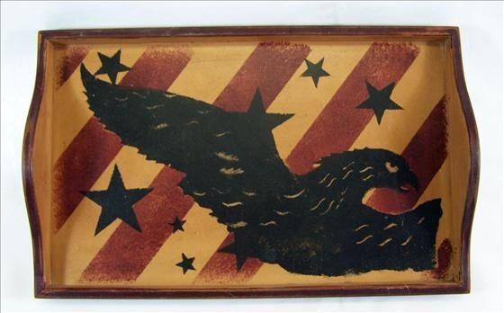 """5011: Wood tray with eagle picture 12"""" X 19"""""""