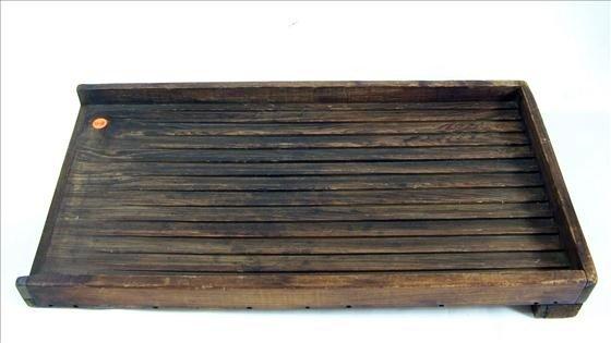 "5018: Wood ribbed box tray - 24 1/2"" X 12 1/2"""