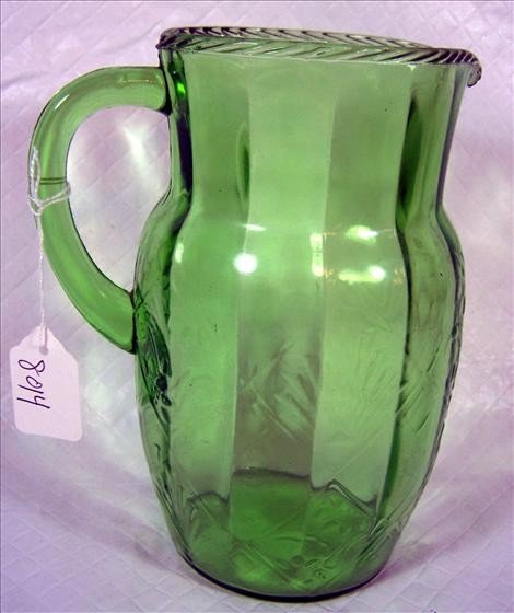 8014: Green glass water pitcher