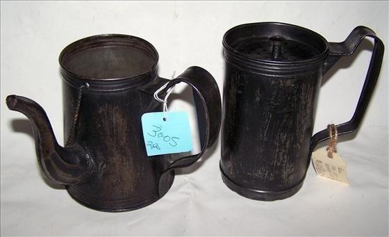 "3005: 2 pc tin coffee pot - rare 6"""