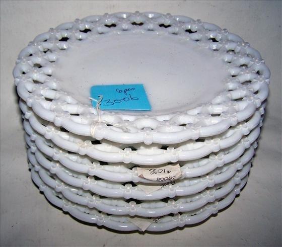 3006: 6 open lace white milk glass plates