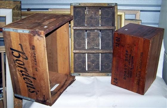 3008: 3 pc old crates and wood boxes