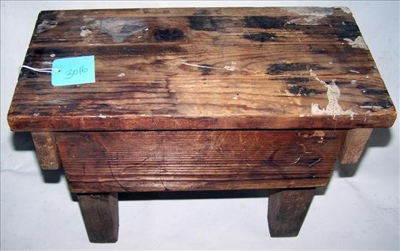 3016: Old hand made wooden stool