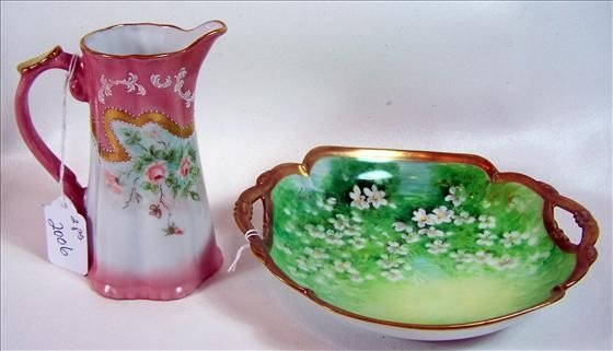 2006: 2 pc - hand painted bowl and pitcher