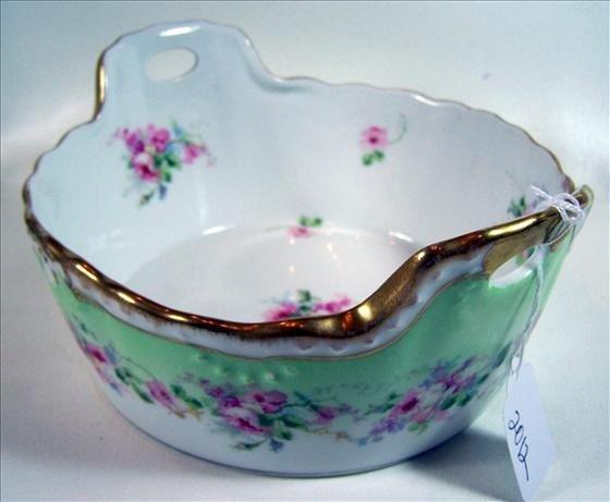 2012: Handled bowl hand painted china