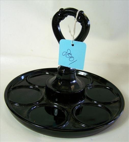 8001: Round black glass handle tray