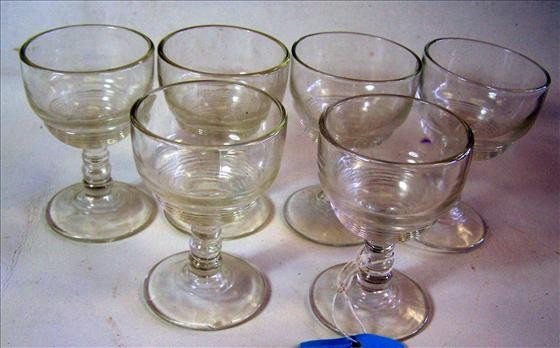 """8004: 6 clear glass ribbed stems - 3 1/2"""""""