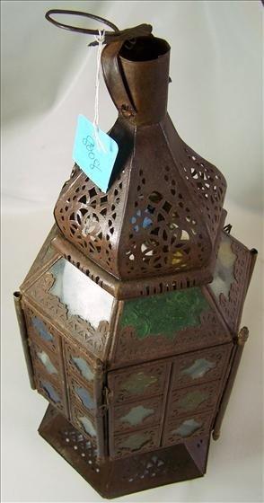 "8008: Iron and green glass hanging lantern 20"""