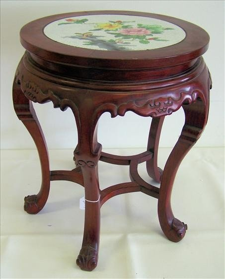 """8044: Cherry wood plant stand - top inlaid - 5 legs 20"""""""