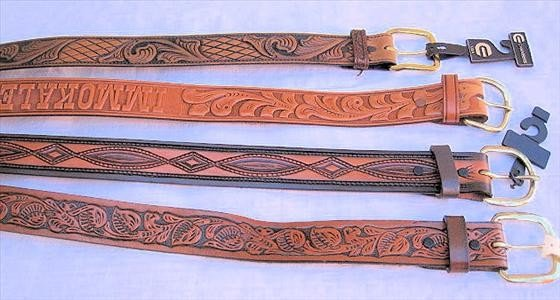 1005: 4 Belts   Carved Leather  Size 30 & 32
