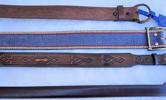 1012: 4 Belts  Denim & leather  Size 36