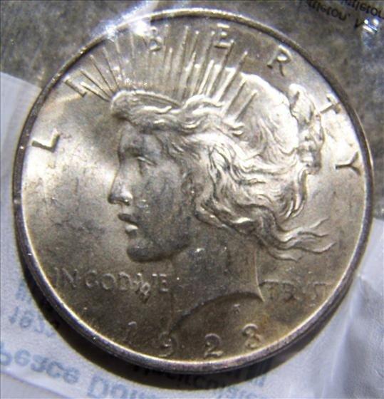 3007: 1923 Peace Silver Dollar MS - 60