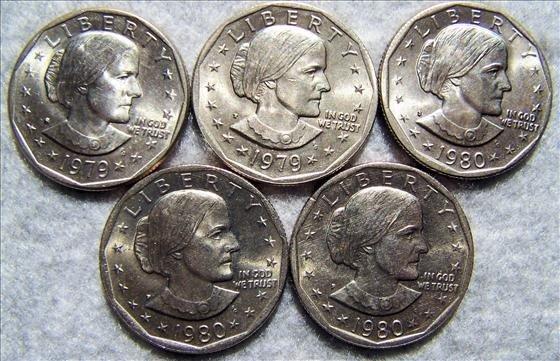 3009: 5 Susan B Anthony Dollars